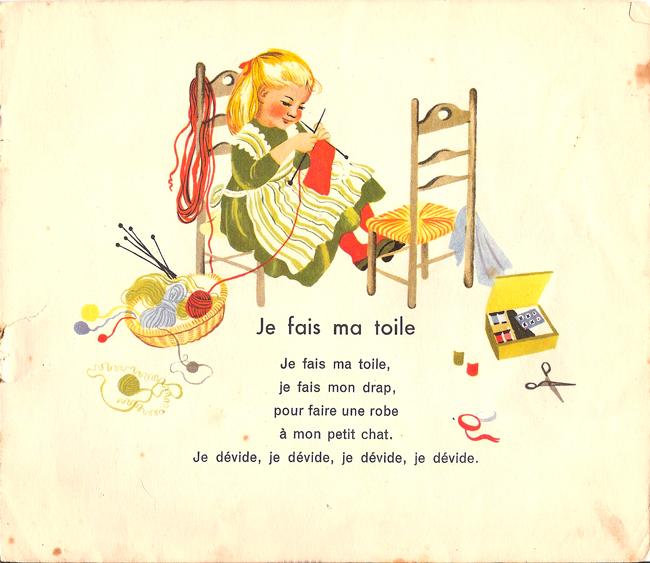 """""""Je fais ma toile"""" dans jeux de nourrice illustré par Gerda, album de père castor 1953"""