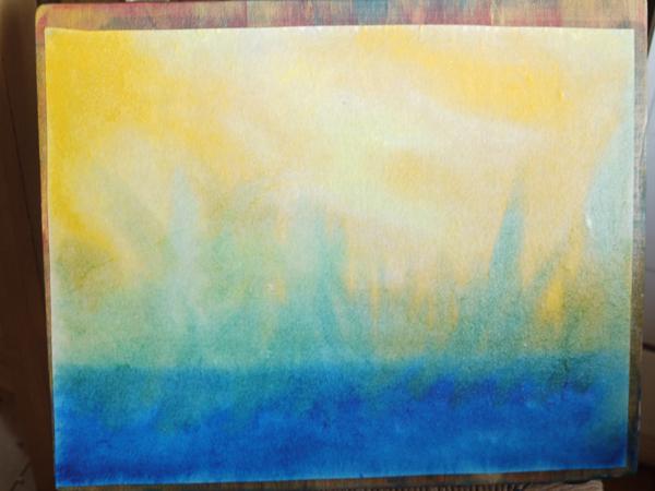 le fleuve noir Tuoni (en bleu très foncé) le soleil (qualité du jaune citron et d'or) emporte les habitants du Manala et les transforme (ici en vert)