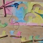 Aquarelles sur papier mouillé et bricolage de saison