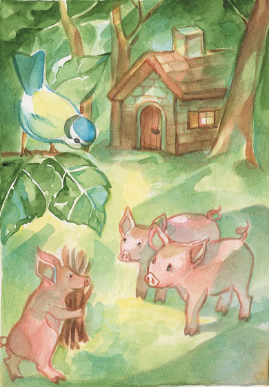 Les trois petits cochons illustration de Marie Laure Viriot dans fanette et filipin N°13 été 2016