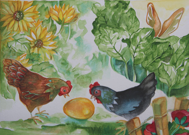 Dame poulette et coquette la poule noire ont trouvé un oeuf dorée. Illustration tirée du lapin de Pâques, une histoire de Roger Gandon illustrée par Marie Laure Viriot. Printemps 2016 n°12